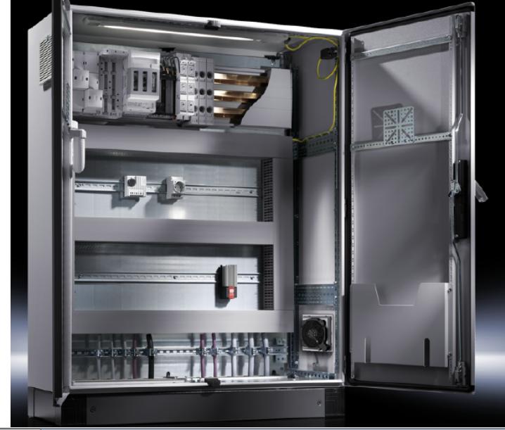 紧装式控制箱AE  箱体材料: 钢板、不锈钢304,内部配有镀锌安装板,可增加风扇、照明等系统 威图机柜防锈蚀保护: 第一阶段:纳米陶瓷预处理 第二阶段:电泳侵涂处理 第三阶段:纹理--粉末涂漆 防护等级: IP66,并符合NEMA4要求 认证:UL、CSA、TUV、VDE 标准颜色:RAL7035(接受非标)